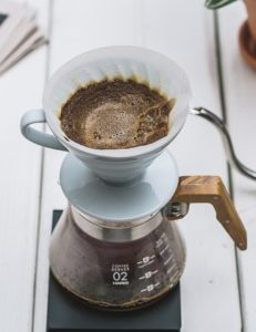 Kaffeesatz im Handfilter