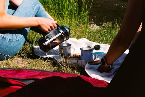 French Press Camping Kaffee