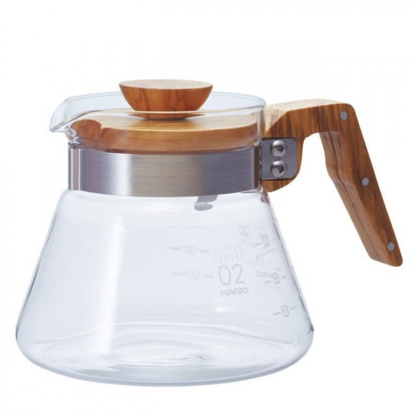 Coffee Server Glasskanne mit Olivenholz